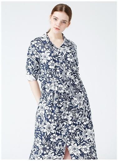 Selen Selen Kadın Lacivert Emprime Desen Elbise Lacivert